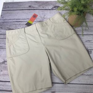Tory Burch light Khaki Long length Bermuda shorts